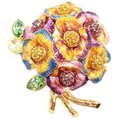 Jay Strongwater Pansy Flower Bouquet Enamel and Crystal Brooch, Pin, Pendant