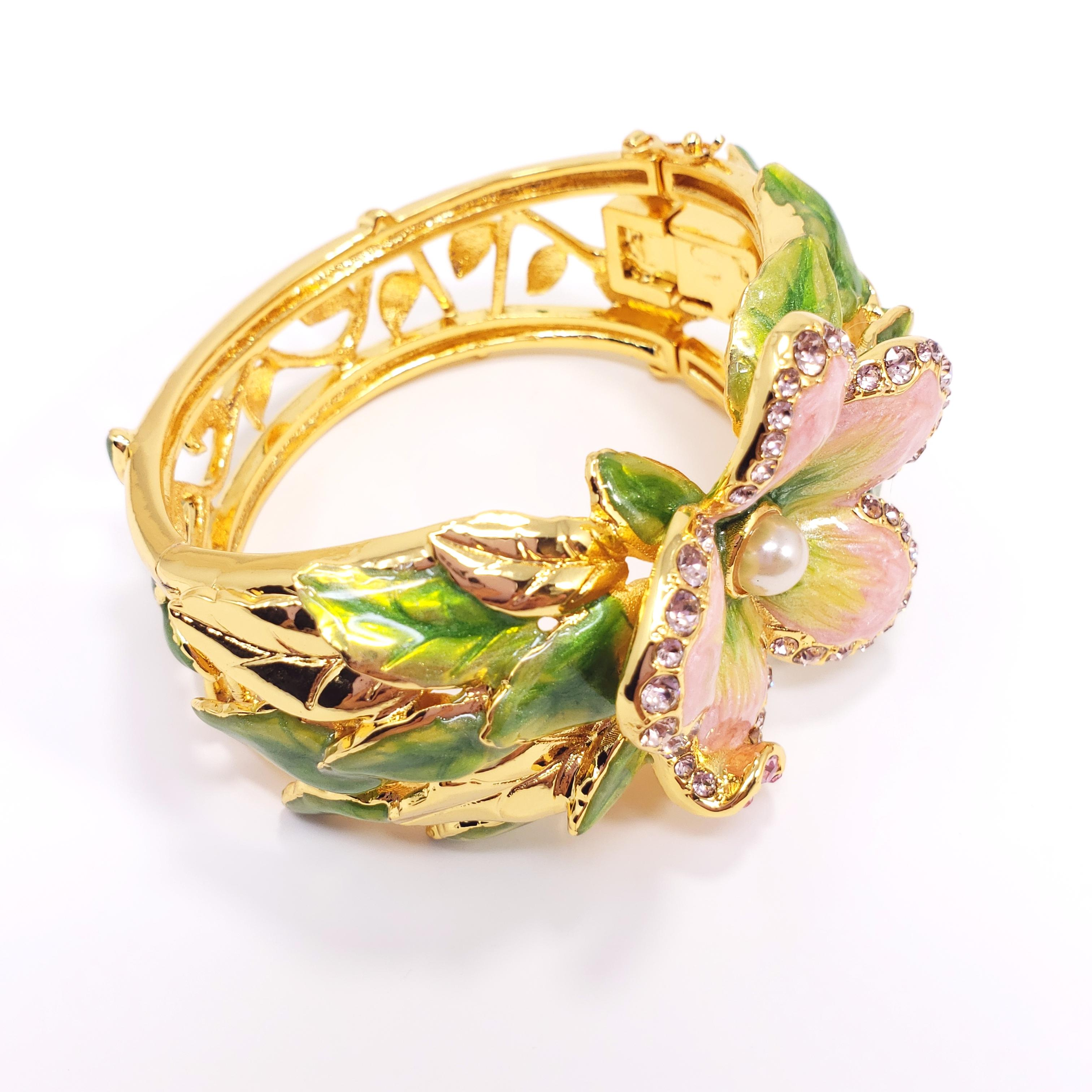 Bracelets Fashion Jewelry Pair Of Signed Enamel Flower Patterns Ornate Hinged Bangles At All Costs