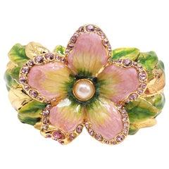 "Jay Strongwater ""Spring Blossom""  Enamel and Crystal Green Flower Bracelet"