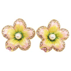 "Jay Strongwater ""Spring Blossom""  Enamel, Crystal and Simulated Pearl Earrings"