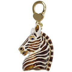 Jay Strongwater Zebra Charm, Painted White and Brown Enamel with Crystal Accents