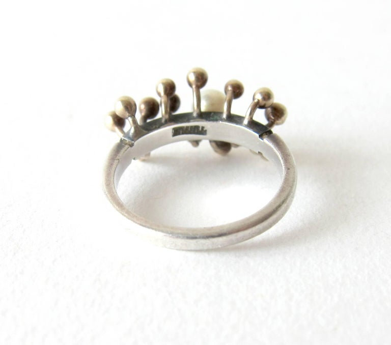 Jay Tuttle Gold Sterling Silver Modernist Spore Ring In Excellent Condition For Sale In Los Angeles, CA