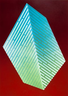 Luminescent Polygon I: contemporary geometric abstract painting, green blue red