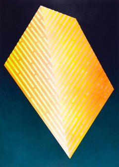 Luminescent Polygon II: contemporary geometric abstract painting, blue & yellow