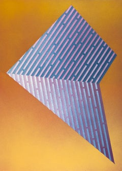 Luminescent Polygon III: contemporary geometric abstract painting, purple & gold