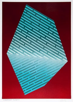 Luminescent Polygon IX: geometric abstract painting in blue & turquoise on red