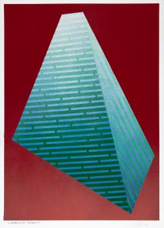 Luminescent Polygon VII: geometric abstract painting in blue & green on red