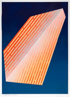 Luminescent Polygon VIII: geometric abstract painting in orange & yellow on blue