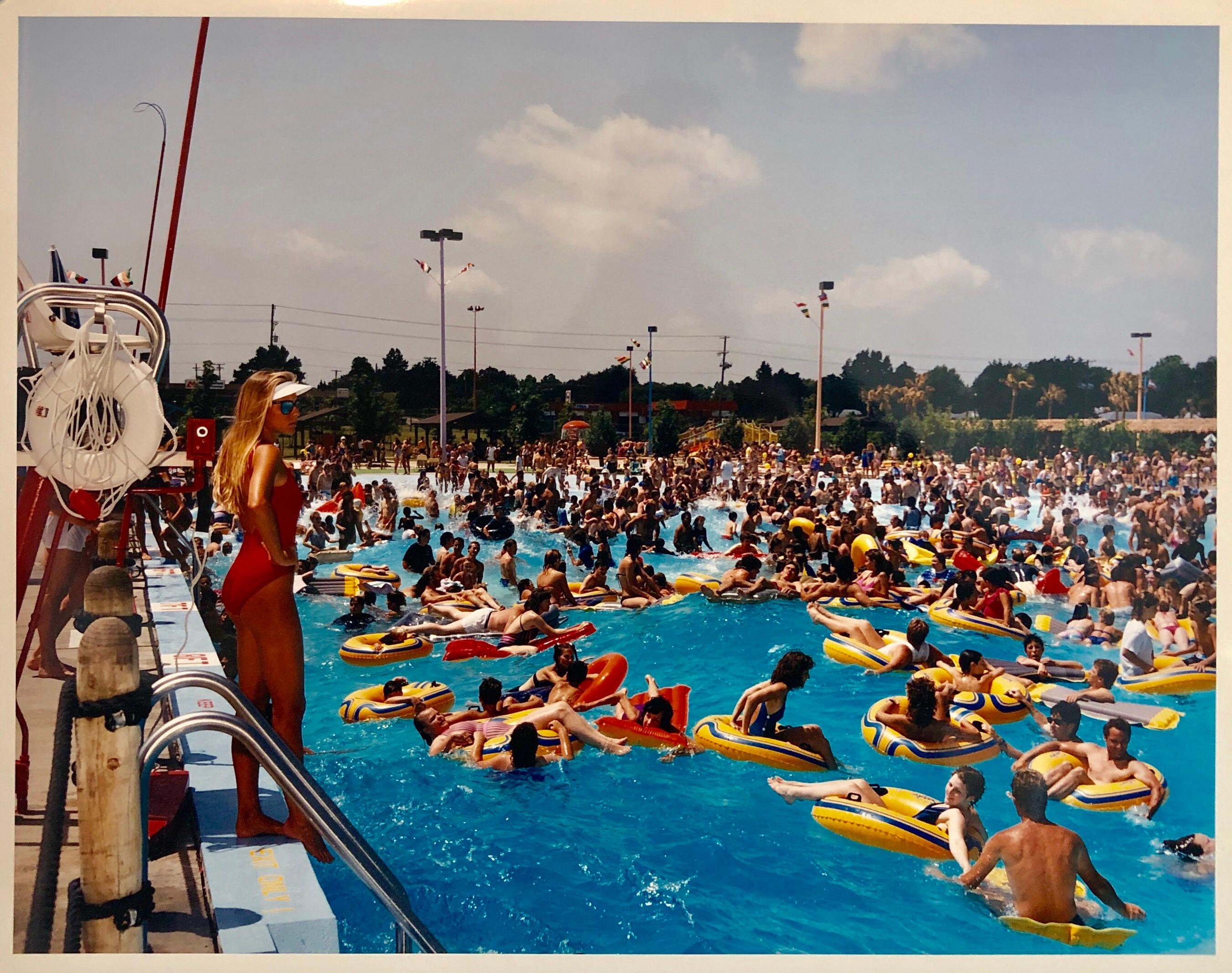 Crowded Swimming Pool Signed Vintage Color Photograph Chicago Photo Jay Wolke