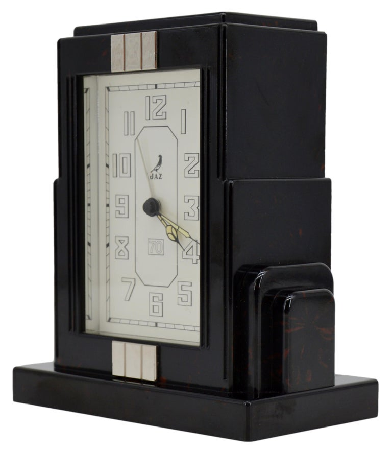 JAZ French Art Deco Bakelite Clock, 1930s In Excellent Condition For Sale In Saint-Amans-des-Cots, FR