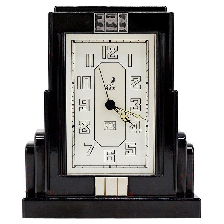 JAZ French Art Deco Bakelite Clock, 1930s For Sale