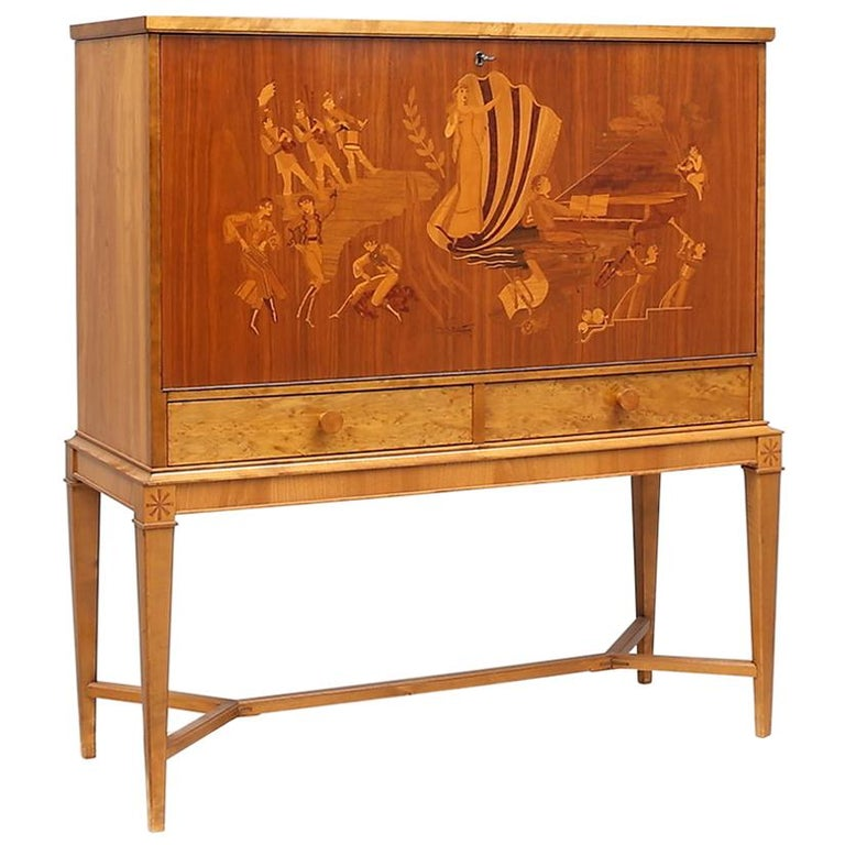 """Jazz Age"" Swedish Art Deco Inlaid Bar-Birger Ekman for Reiners Mobler, 1930s For Sale"