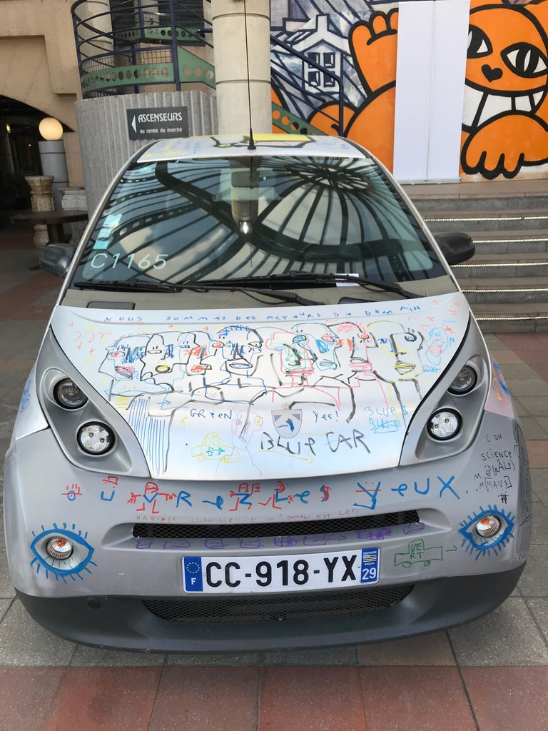 Jazzu, recognized street artist, has completely revamped an autolib during a live performance on Saturday, January 19 and Sunday, January 20 at Malassis Flea Market. It is visible at the entrance to the Malassis market. He wanted to send a positive