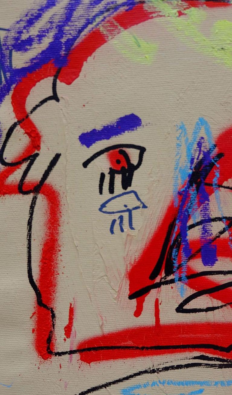 JAZZU - TRAIT D'UNION - Beige Abstract Painting by Jazzu