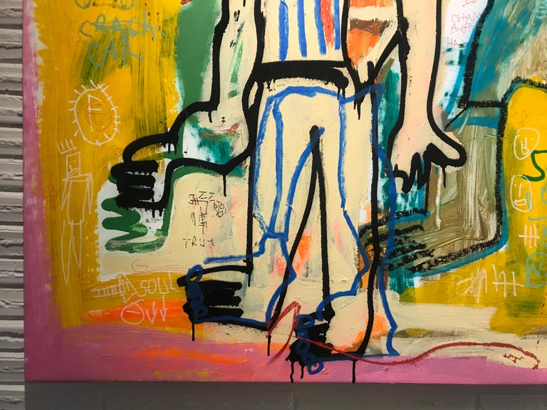 Spirit by Jazzu, Large Figurative Art Brut Mixed Media on Canvas Painting 5