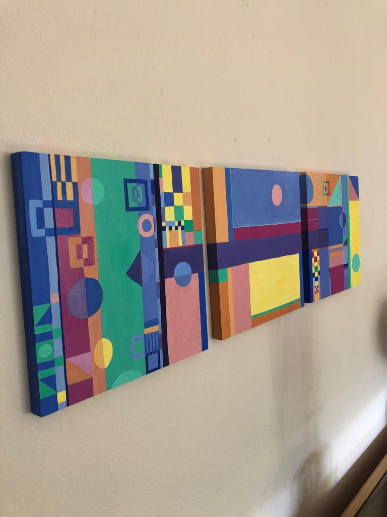 Jazzy Trio of Small Square Abstract Paintings For Sale 3