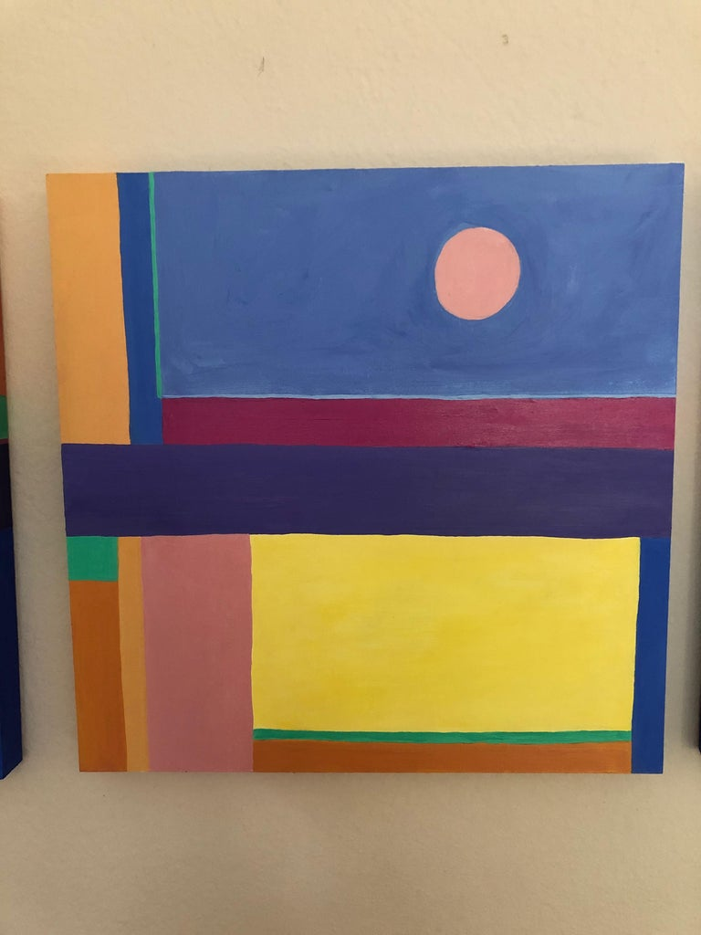 Modern Jazzy Trio of Small Square Abstract Paintings For Sale