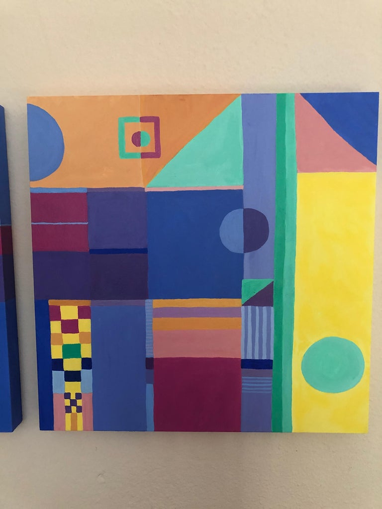 American Jazzy Trio of Small Square Abstract Paintings For Sale