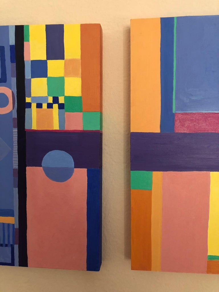 Jazzy Trio of Small Square Abstract Paintings In Excellent Condition For Sale In Hopewell, NJ