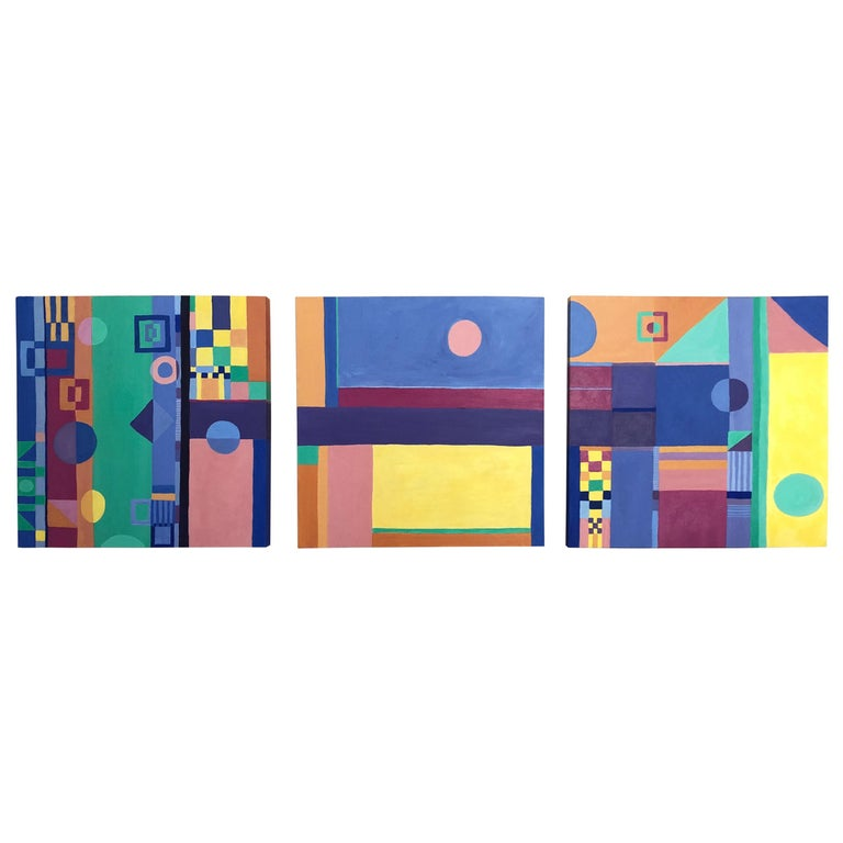 Jazzy Trio of Small Square Abstract Paintings For Sale
