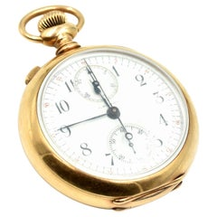 J.B. Chambers & Co. Yellow Gold Split Second Chronograph manual Pocket Watch