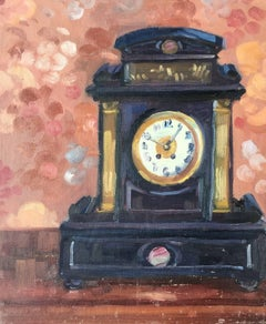 Still Life Oil Painting of a Mantel Piece Clock