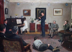 The Recital - Scottish genre oil painting living room Interior musical family