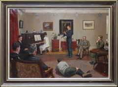 The Recital - Scottish 20s art interior oil painting family portrait piano music