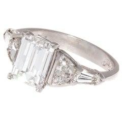 JB Star GIA 2.07 Carat E VS2 Emerald Cut Diamond Platinum Engagement Ring