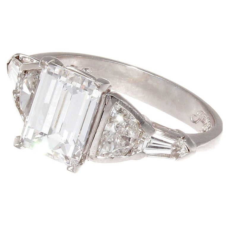 JB Star GIA 2.07 Carat E VS2 Emerald Cut Diamond Platinum Engagement Ring