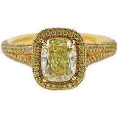 JB Star GIA 2.46 Carat Fancy Yellow Diamond Gold Engagement Ring