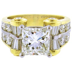 JB Star GIA 3 Carat Princess Cut Diamond Ring