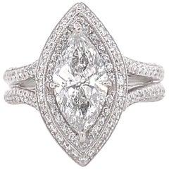 J.B. Star Marquise Diamond 2.35 Carat Diamond Engagement Ring Platinum