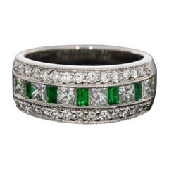 JB Star Platinum 1.20 Carat Baguette Cut Emerald and Diamond Band Ladies Ring