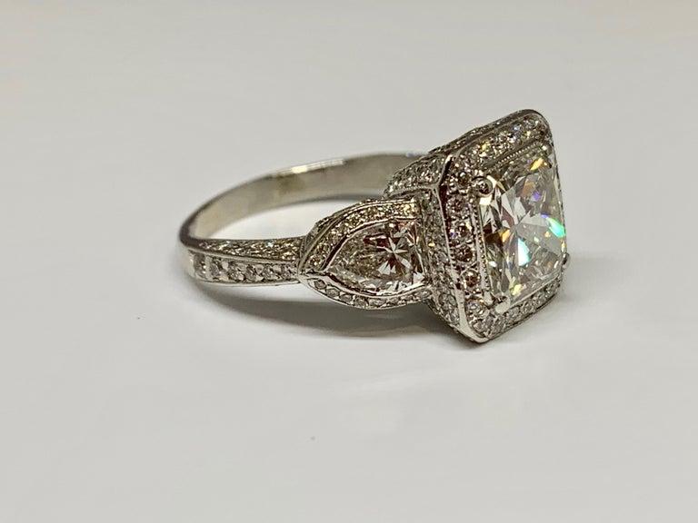 Art Deco JB Star Platinum 3.70 Carat Total Weight Radiant Cut Diamond Engagement Ring For Sale
