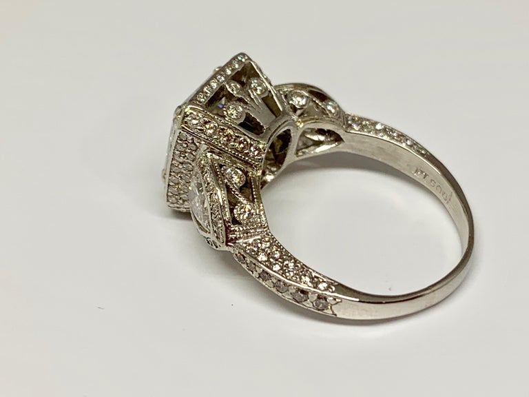JB Star Platinum 3.70 Carat Total Weight Radiant Cut Diamond Engagement Ring In Excellent Condition For Sale In Gainesville , FL
