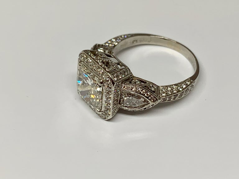 Women's or Men's JB Star Platinum 3.70 Carat Total Weight Radiant Cut Diamond Engagement Ring For Sale