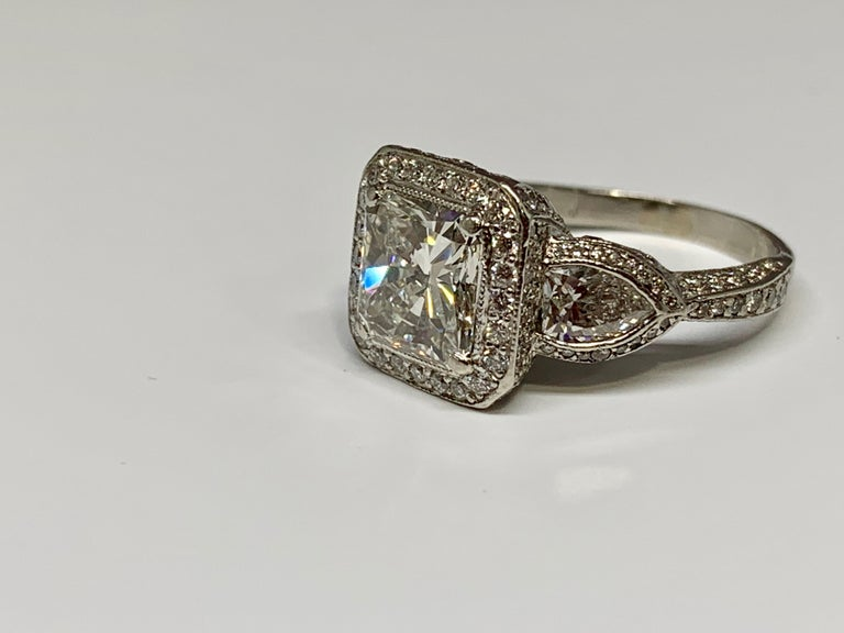 JB Star Platinum 3.70 Carat Total Weight Radiant Cut Diamond Engagement Ring For Sale 1
