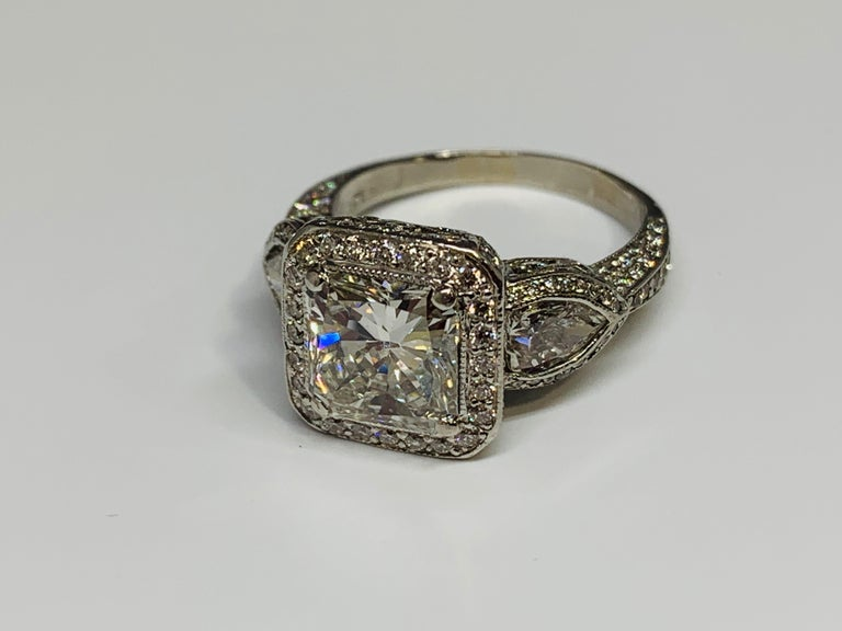 JB Star Platinum 3.70 Carat Total Weight Radiant Cut Diamond Engagement Ring For Sale 2