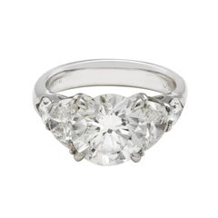 JB Star Platinum Diamond Engagement Ring with Half Moon and Pear Shaped Dia Trim