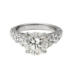 JB Star Platinum Graduated Diamond Engagement Ring with 3.20ct Diamond Center