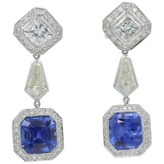 JB Star Sapphire and Diamond 'GIA Certified' Earrings in Platinum