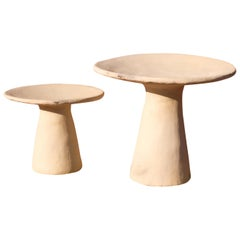 Jbel Zucar White Side Tables Made of Clay, Handcrafted by the Potter Houda