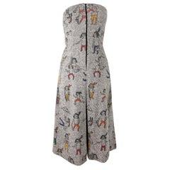 JC de Castelbajac Graphic Print Strapless Tweed Dress