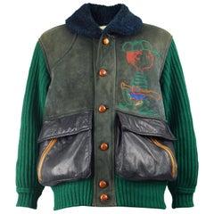JC de Castelbajac x Iceberg Mens Vintage Sheepskin, Wool & Leather Coat, 1990s