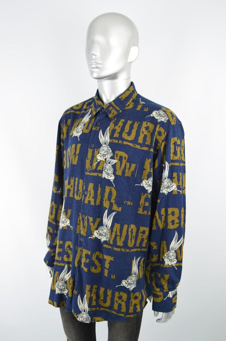 Black JC de Castelbajac x Looney Tunes Men's Bugs Bunny 90s Vintage Long Sleeve Shirt For Sale