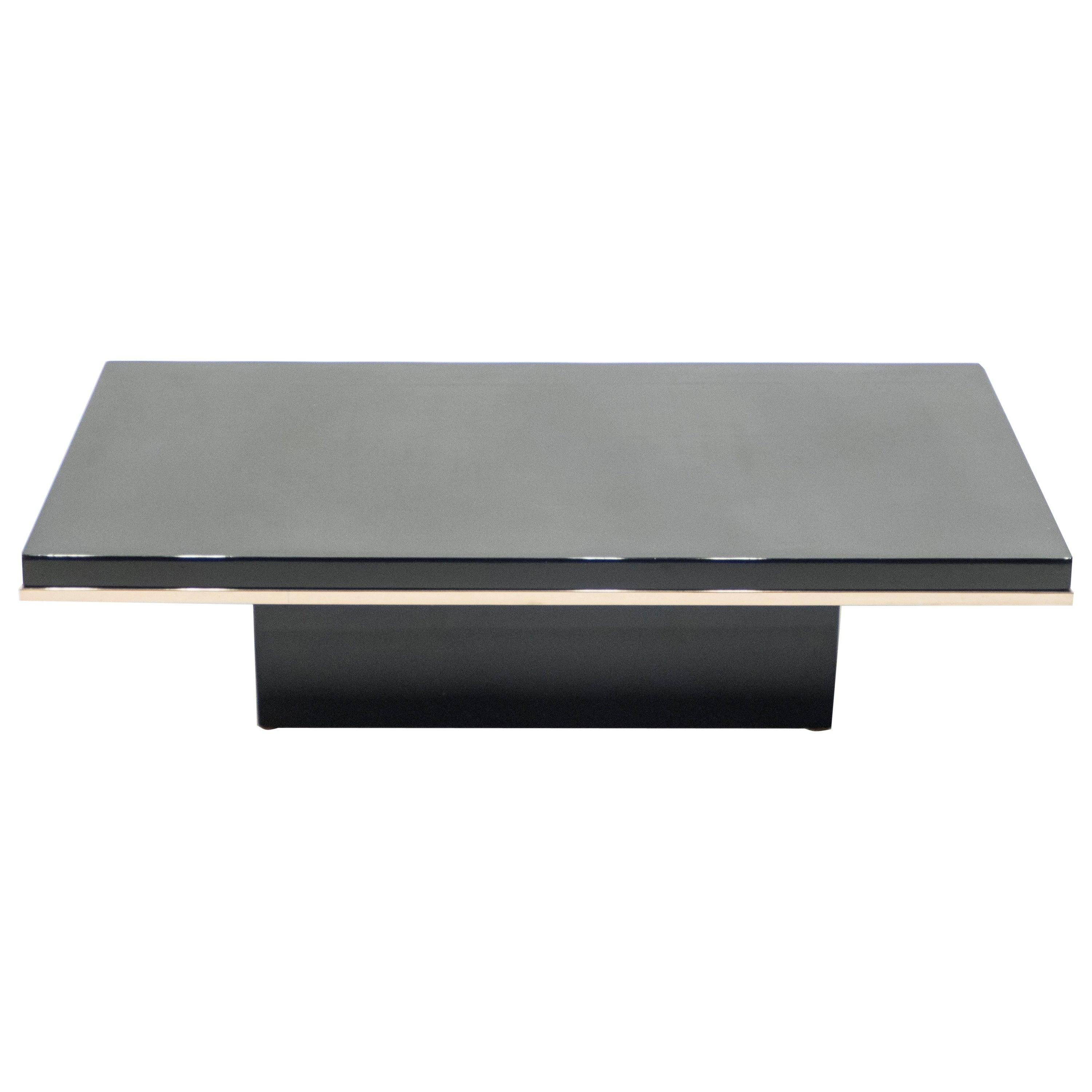 J.C. Mahey Black Lacquer and Brass Coffee Table, 1970s
