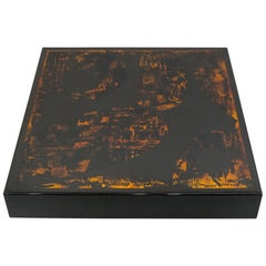 J.C. Mahey Black Orange Lacquer and Leather Coffee Table, 1970s