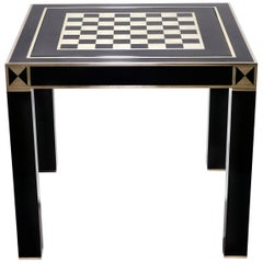 J.C. Mahey Lacquered and Brass Game Table, 1970s