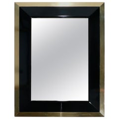 J.C. Mahey Wall Mirror in Black Lacquer and Brass, 1970s